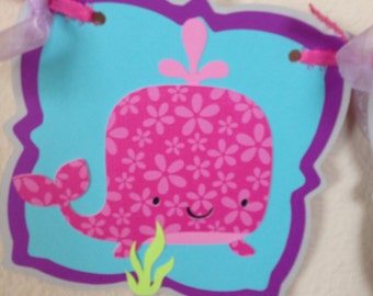 Under the sea Pink whale, Nautical Baby shower, Baby shower banner, High Chair banner, nautical It's a girl banner, whale baby Shower banner