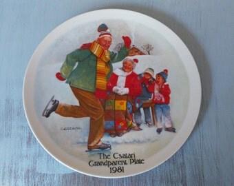 Vintage 1981 Csatari Grandparent Plate, by Edwin Knowles China, Ice Skating Decor, Grandparent Plate, Ice Skating Plate, Grandparent Gift