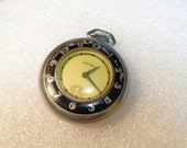 Vintage Old Art Deco SENTINEL Watch Yellow Face Unique Black Enameling Pocket Watch for Parts * not working