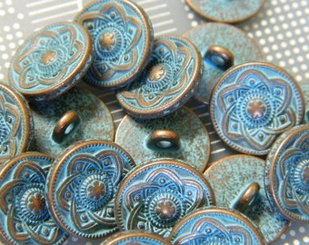 Irish Antiqued Copper Metal Button - Copper Tone Metal Shank Button with Aged Blue Patina - 2 Buttons Per Order