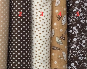 Classical Brown Series 100% Cotton Fabric Per fat quarter/ per Half Meter