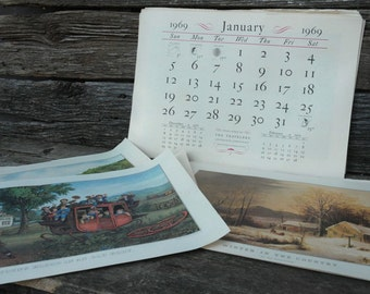 Currier and Ives Print set 44 prints, The Travelers Currier and Ives Calendars, The Travelers Insurance companies
