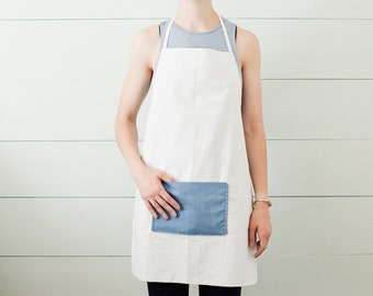 Grey and White Apron