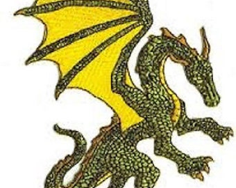 Green Winged Dragon Figure Embroidered Patch