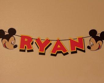 Mickey Mouse Name Banner - Personalized