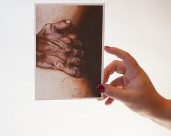 Hip & Hand A7 Art Print - Embrace - Male Hands - Sensual Body Art