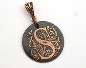 Letter S pendant, small round flat metal copper etched monogram initial, optional necklace, 25mm