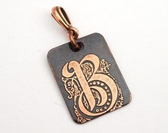 Initial B pendant, small rectangular flat metal etched monogram initial, optional necklace, 25mm