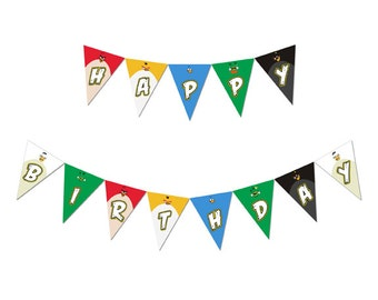 Angry Birds Happy Birthday Party Pennant Banner Instant Download Digital File
