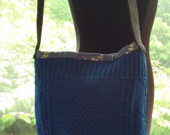 Royal Blue Cable Sweater Bag