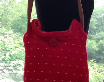 Red Cotton  Sweater Bag