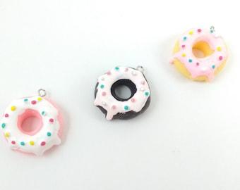1 Sprinkled Donut Charm Pendant