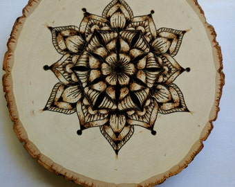 Hand Burned pyrography Mandala lotus