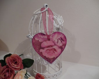 Hand Made Vintage Shabby Chic Decoupage Heart decoration / Vintage roses