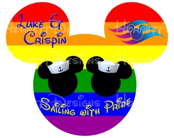 "Printable Disney cruise magnet Mickey ""Sailing with Pride"""