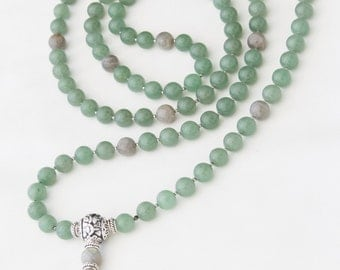 Exclusive Prayer Mala Grade A 108 Beads 12mm Green Aventurine and Labradorite Gemstones