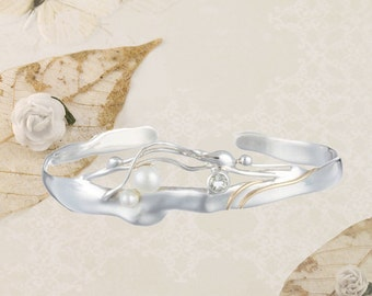 Silver, Pearl, Green Amethyst and Goldfill Cuff