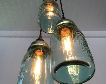 Vintage Wood Pulley & triple Mason Jar Hanging Light Fixture
