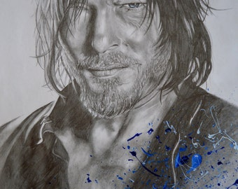 Norman Reedus the walking dead Daryl Dixon portrait drawing