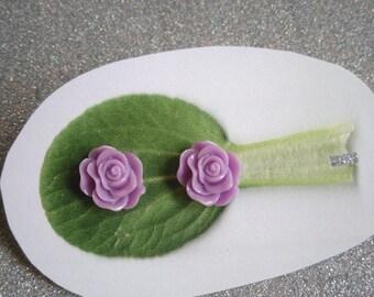 Purple Rose Post Earrings