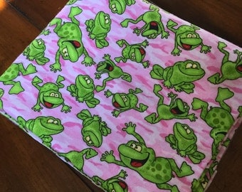 Frog Fabric - Pink Camo Fabric - Camo Flannelette - Cute Frog Fabric - Dancing Frogs Fabric