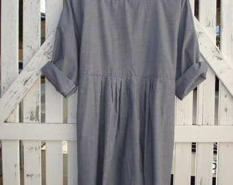 Navy and White Checked cotton dress one size fits most