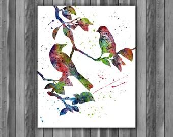 Love Birds Art Print, instant download, Watercolor Bird, Love Birds Painting, Bird Nursery Wall Decor, Illustration print, Printable