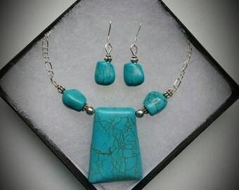Turquoise Protection&Intuition Set -Earrings and Necklace- Healing Crystals- Turquoise- Natural Stones-  Gemstones -Sterling  Silver Jewerly