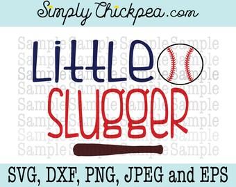 SVG, DXF, PNG, cutting file Jpeg and Eps: Little Slugger Baseball Design Silhouette Cameo Cricut Cutting File