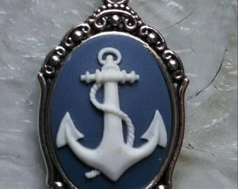 Navy blue Anchor cameo pendant