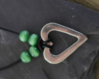 Heart Necklace with Green Accent Beads
