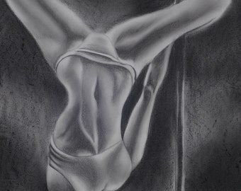 Life Upside Down, Fine art Print, Graphite Drawing, Pole Dance Art, Pole Dancer Art, Pole Dance Wall Art, Dancer Wall Art, Dancer Body Art