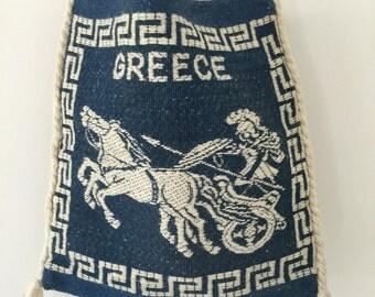 Woven Boho Folk Bag // Wool Cross Body Tote // Vintage