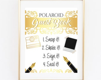Polaroid Guest Book, Wedding Guest Book, 8x10 INSTANT DOWNLOAD, Wedding Signs, Gold Photo Guest Book, Photo Guest Book