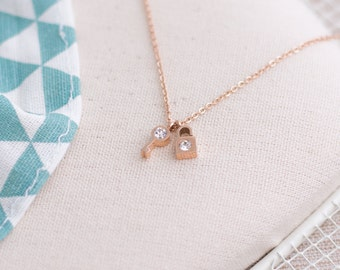 Lock and Key Zirconia Pendant Necklace Stainless Steel 17inch Silver or Rose Gold Plated 14K Unique Gift