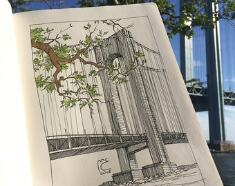 Urban sketch, Verrazano-Narrows Bridge, New York, Brooklyn, Original artwork, Summer