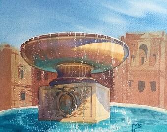 ORIGINAL. Watercolor. Giardino Quadrato. Vatican, Italy.