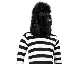 Black Standard Poodle Dog Costume Face Mask