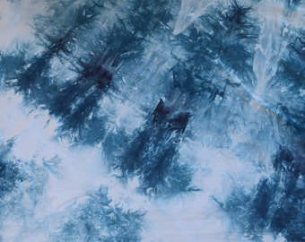 Hand Dyed Fabric, Quilt Fabric, Dyed Cotton Fabric, Blue Fabric #178