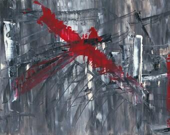 """Red X by Jakob Straume Giclée Print 20""""x 30"""""""
