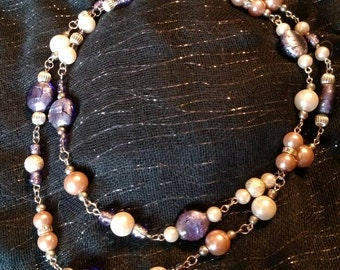 Purple & Pink glass bead necklace