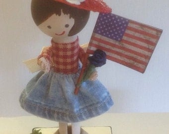 Patriotic clothespin doll