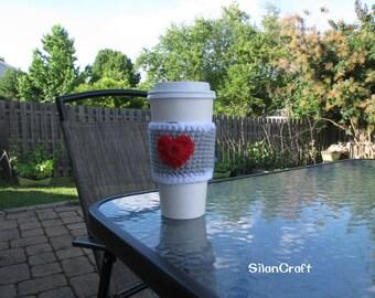 Crochet Red Heart Coffee Cozy, Handmade Coffee Sleeve, Cute Red Heart Cozy, Coffee ToGo Cup Cozy