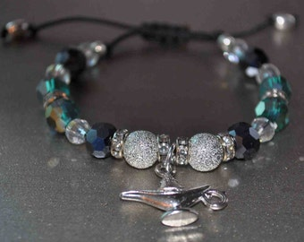 Adjustable Beaded Bracelet - 8mm Dark Blue 8mm Teal and 6mm white Glass Beads with Genie Lamp Charm