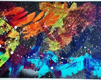 Original Acrylic Abstact Expressionism Painting (title: Rainbow Galaxy)