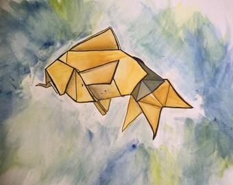 Origami Goldfish Painting