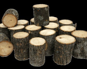 "set of 12 wood slice mini logs  3"" x 2"" with bark 100% natural and fresh DIY crafts art decorative fairy gardens"