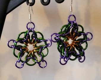 Purple Chainmaille Flower Earrings