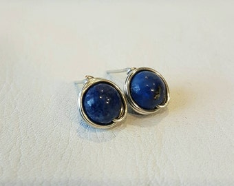 Lapis Lazuli wire wrapped earrings with silver coloured copper wire