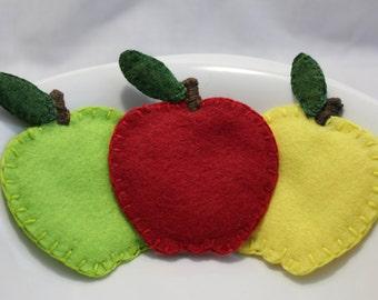 Felt Apples - Pretend Play Food - Felt Produce - Play Kitchen Set - Felt Fruit - Toy Fruit - Felt Food - Pretend Food - Play Food